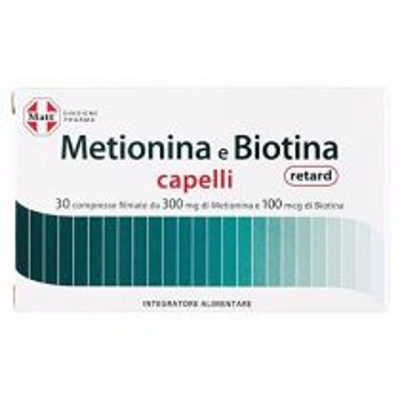 Integratore alimentare a base di Metionina per rafforzare unghie e capelli - Metionina e Biotina Retard - 30 compresse