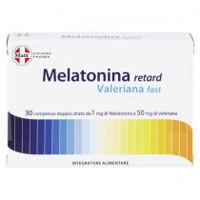 Integratore alimentare a base di Melatonina e Valeriana per favorire il riposo notturno - Melatonina Retard Valeriana Fast - 30 compresse