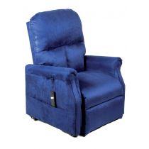 Poltrona Relax per Anziani e Disabili Elevabile e Reclinabile con Alzata Assistita 1 Motore in Microfibra Blu