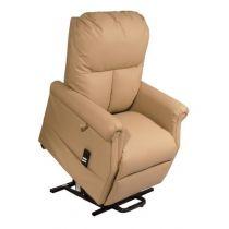 Poltrona Relax per Anziani e Disabili Elevabile e Reclinabile con Alzata Assistita 1 Motore in Ecopelle Beige