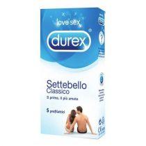 Preservativo lubrificato in lattice di gomma naturale - Durex Settebello Classico - 5 pezzi