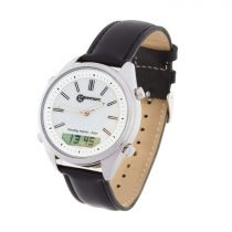 Geemarc Watch And Shake-10 Orologio da Polso Analogico/digitale con Carica Solare, Vibrazione, 4 Allarmi e Base di Ricarica